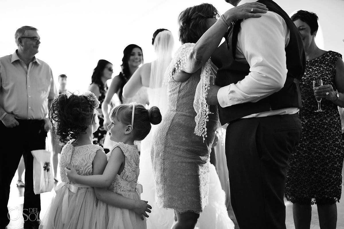 cute flower girls hug, black white, Barceló Maya Palace Deluxe gazebo wedding, Riviera Maya, Mexico
