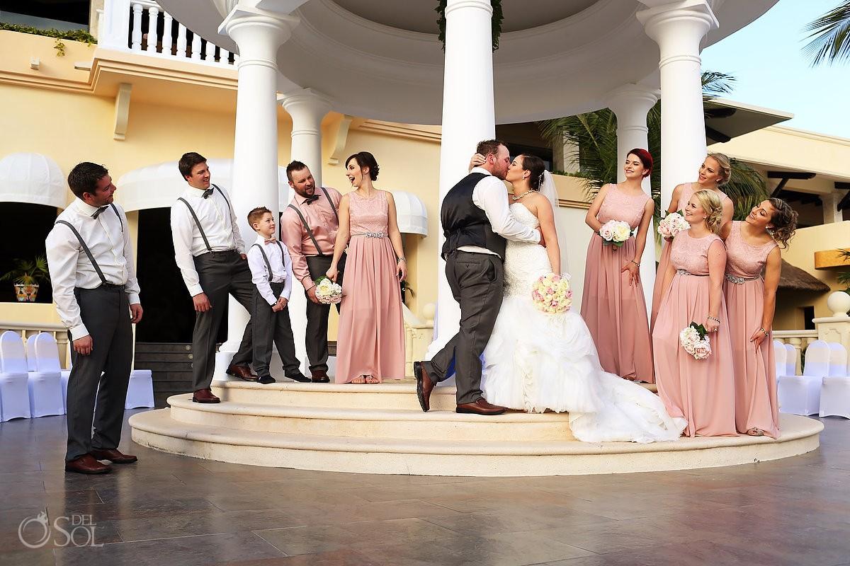 bridal party with bridesman and groomswoman, Barceló Maya Palace Deluxe gazebo wedding, Riviera Maya, Mexico