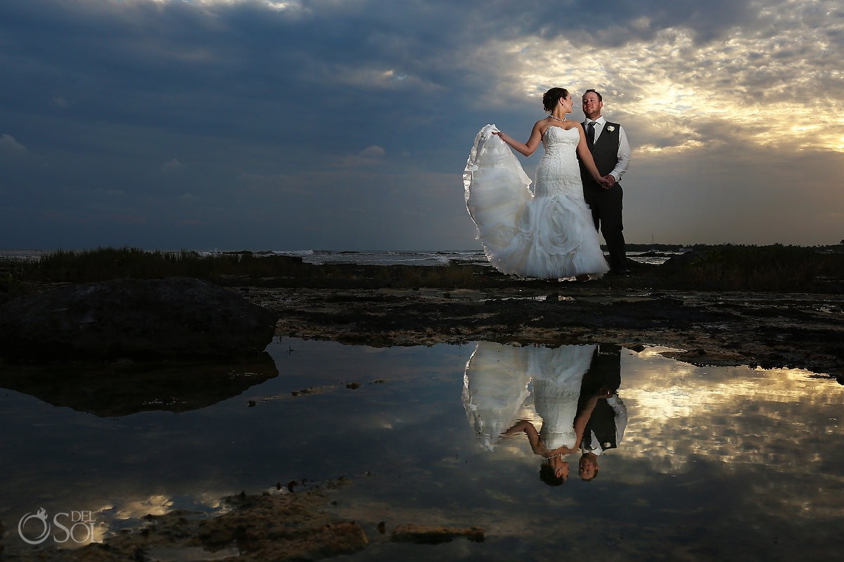 Wedding portrait creative reflection rock pool ocean, Barceló Maya Palace Deluxe wedding, Riviera Maya, Mexico