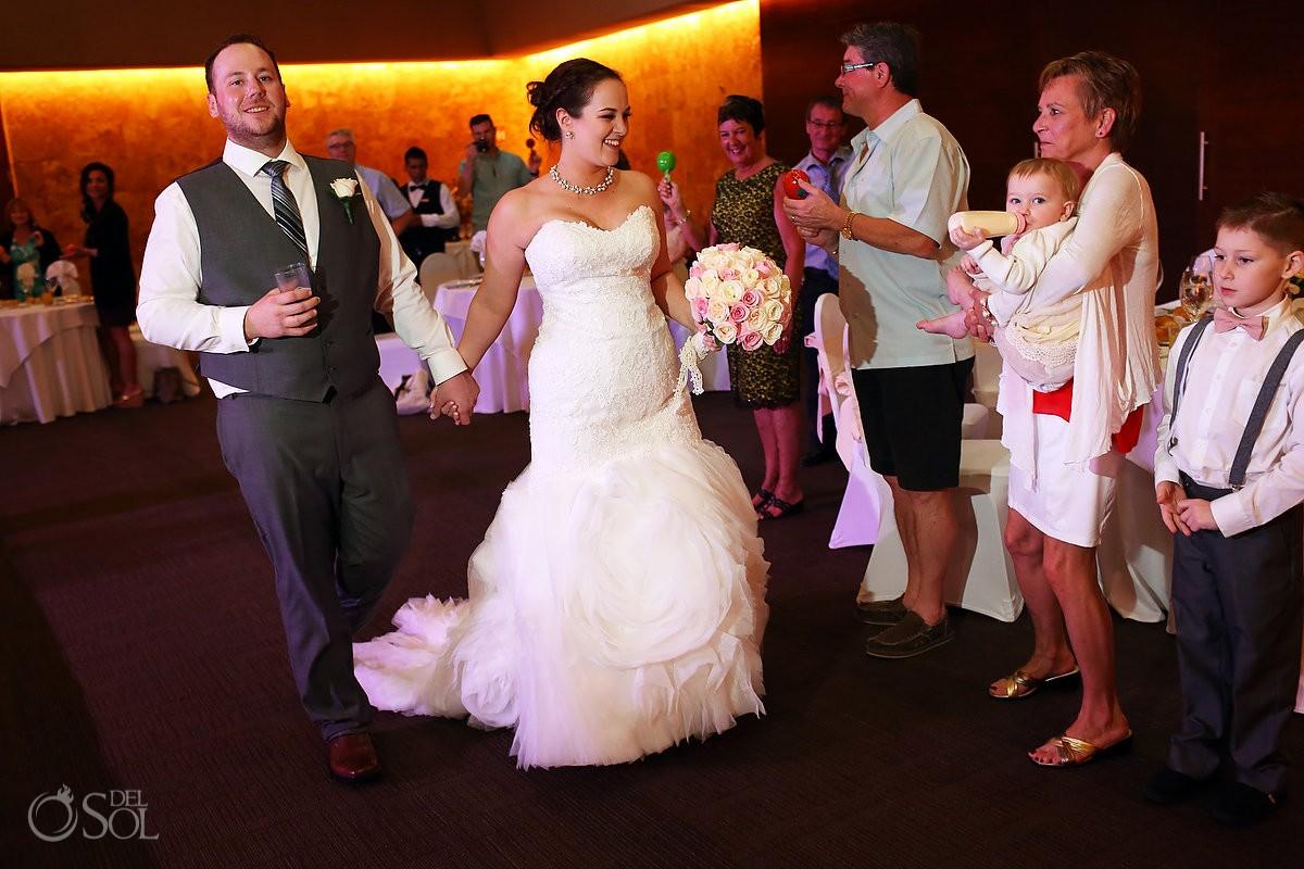 bride groom wedding reception entrance shaking maracas, Barceló Maya Palace Deluxe, Riviera Maya, Mexico