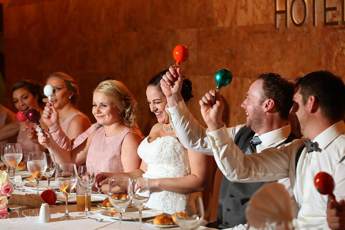 wedding reception, shaking maracas, Barceló Maya Palace Deluxe, Riviera Maya, Mexico