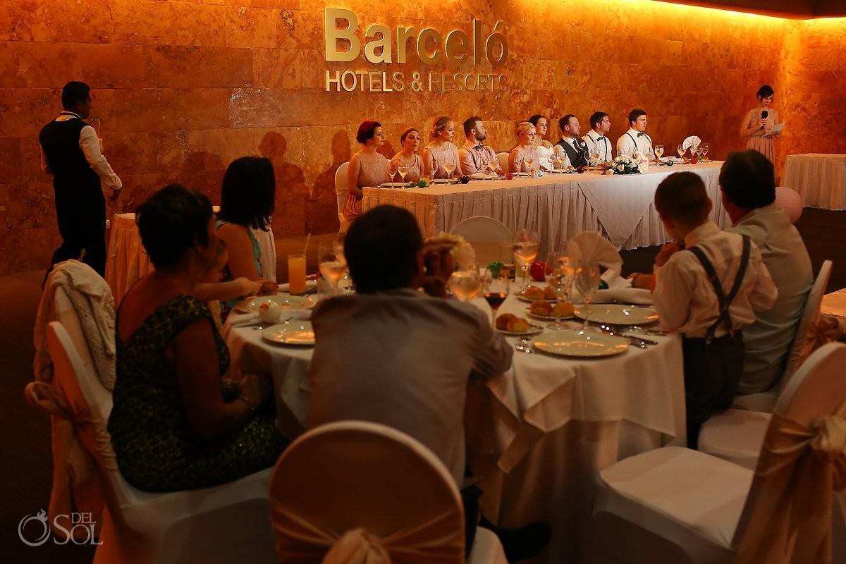 wedding reception speeches , Barceló Maya Palace Deluxe, Riviera Maya, Mexico