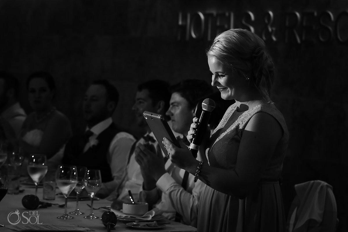 wedding reception speeches black white, Barceló Maya Palace Deluxe, Riviera Maya, Mexico