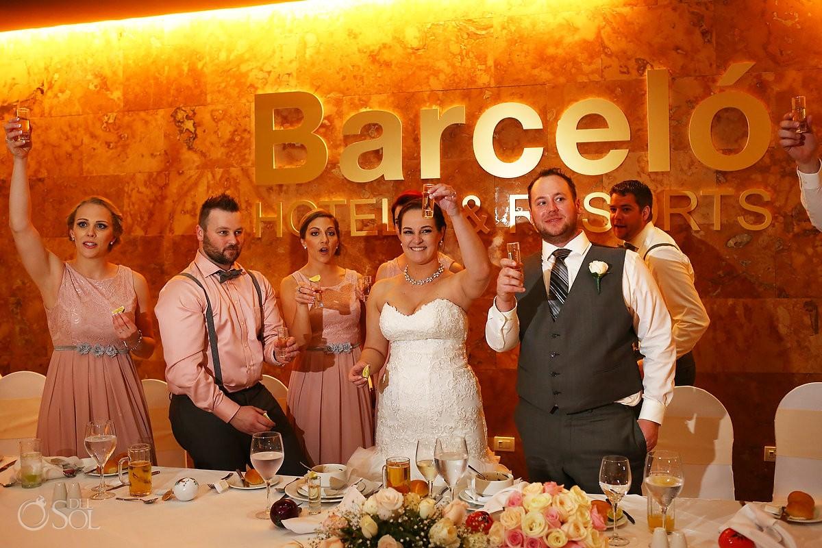 tequila shots wedding reception, Barceló Maya Palace Deluxe, Riviera Maya, Mexico