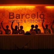 artistic silhouette wedding party shaking maracas bride groom kiss, reception Barceló Maya Palace Deluxe, Riviera Maya, Mexico