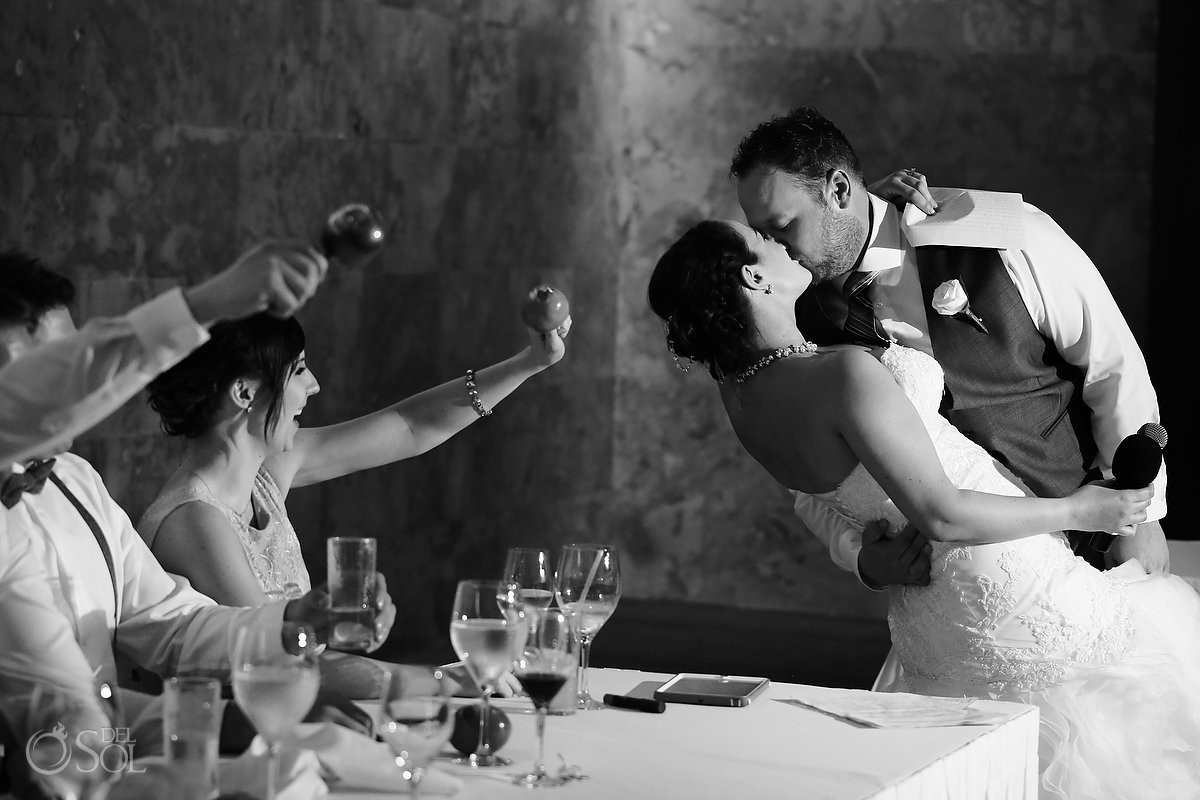 bride groom dip kiss speeches, wedding reception Barceló Maya Palace Deluxe, Riviera Maya, Mexico