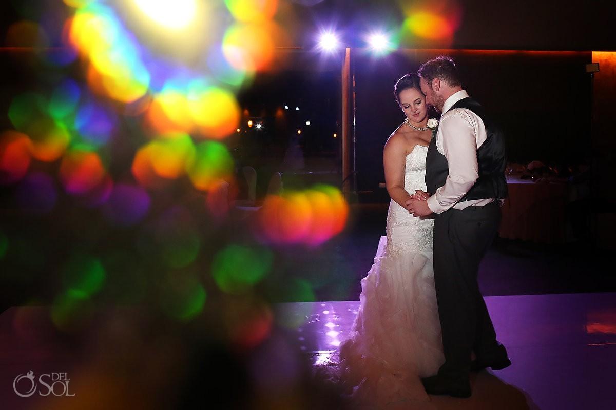 rainbow sparkle first dance, wedding reception Barceló Maya Palace Deluxe, Riviera Maya, Mexico