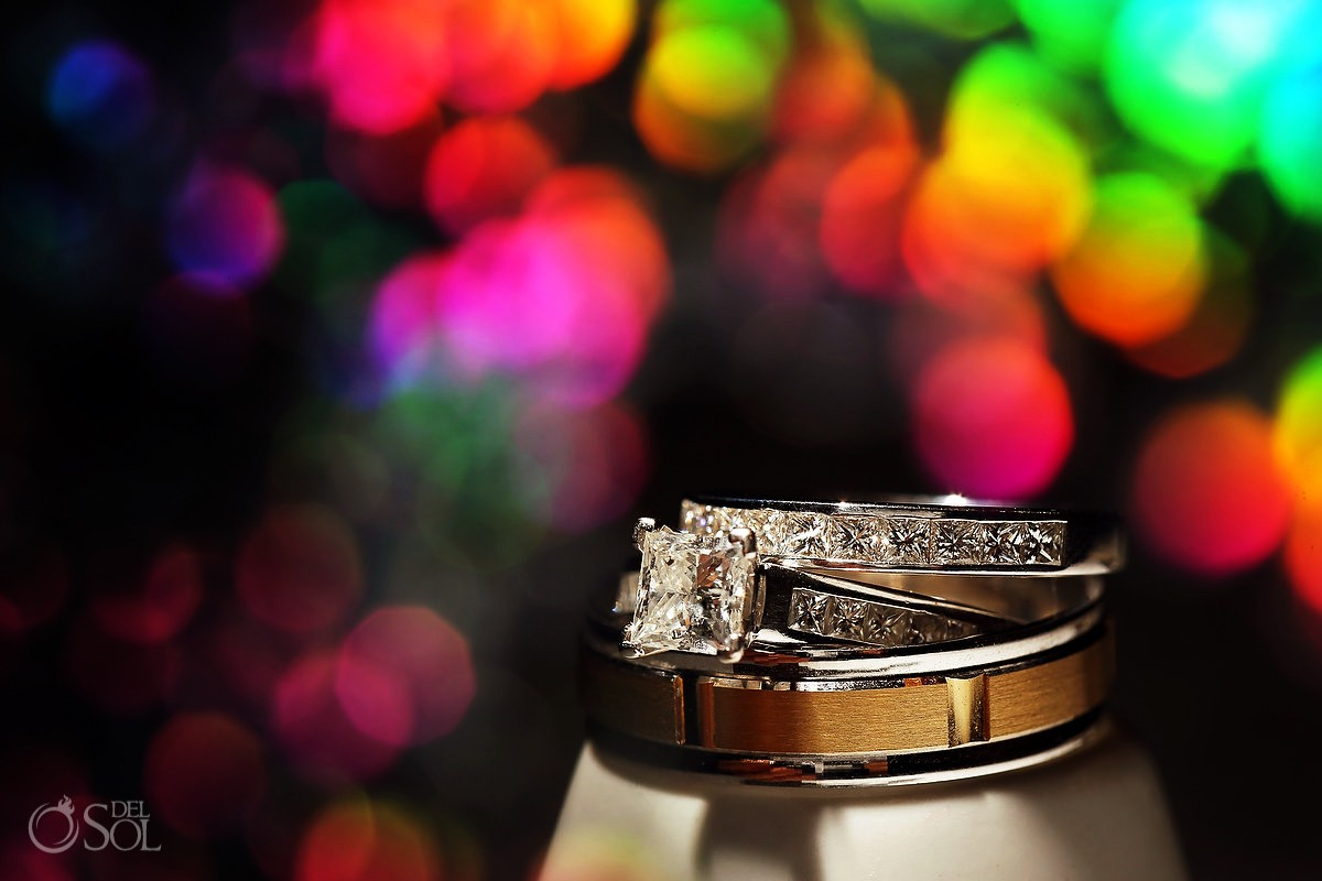 engagement and wedding rings sparkle bling ring detail