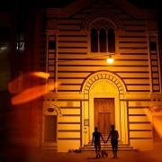 same sex couple at night in Via dell'Amore, Cinque Terre Italian portraits