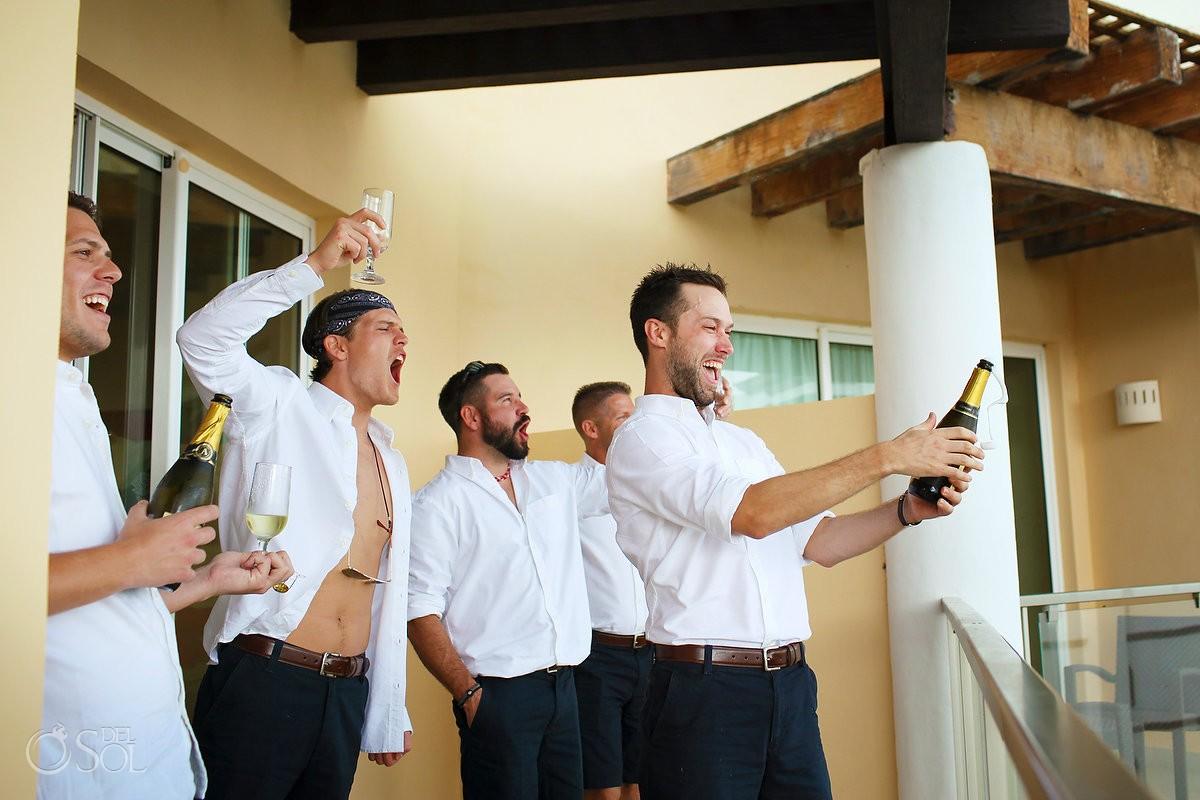 groom pop champage getting ready Now Jade balcony Puerto Morelos, Mexico