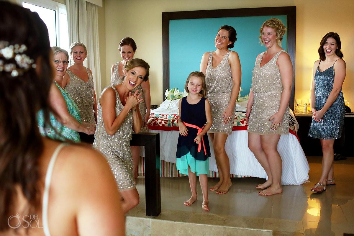 bridal party bridesmaids look bride, family love, getting ready, Wedding Now Jade, Puerto Morelos, Mexico