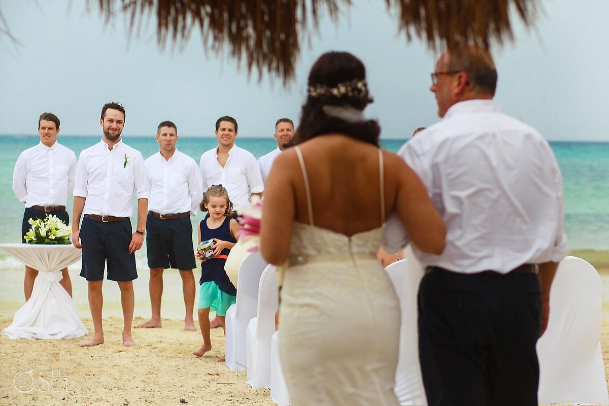 first look presentation bride enters Beach Wedding Now Jade, Puerto Morelos, Mexico.