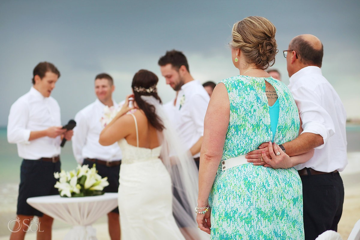 mother father bride watch ceremony holding hands family love, Beach Wedding Now Jade, Puerto Morelos, Mexico.