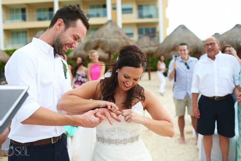 funny wedding picture bride pretends force ring grooms finger, Beach Wedding Now Jade, Puerto Morelos, Mexico.