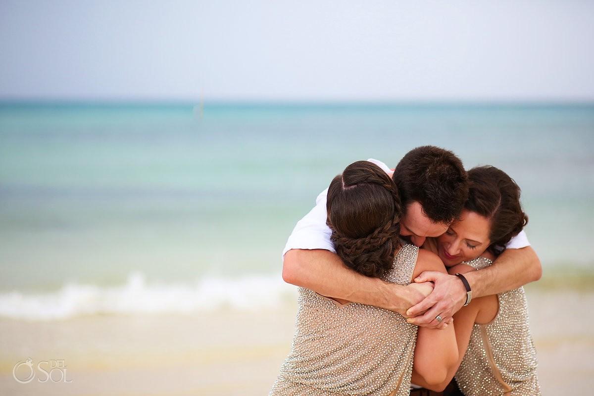 groom hugs bridesmaids, Beach Wedding Now Jade, Puerto Morelos, Mexico.