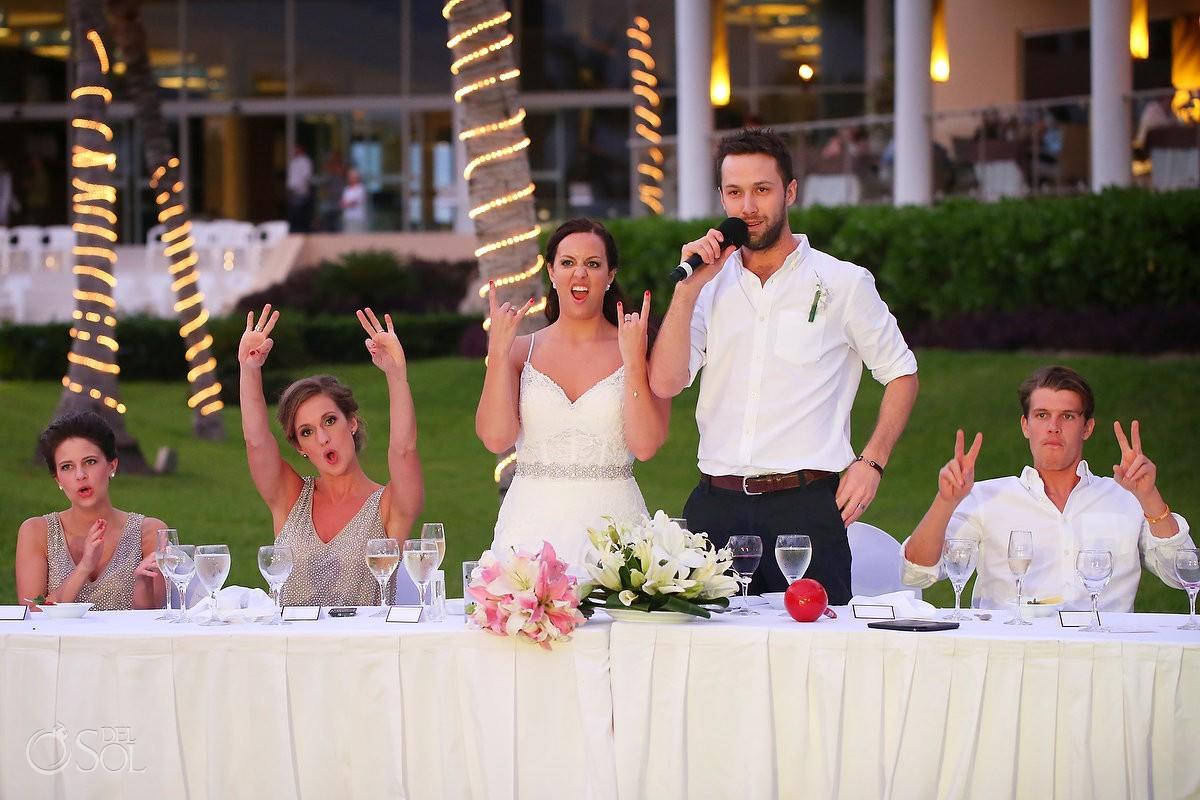 bride funny rock hand sign, Now Jade, Puerto Morelos, Mexico