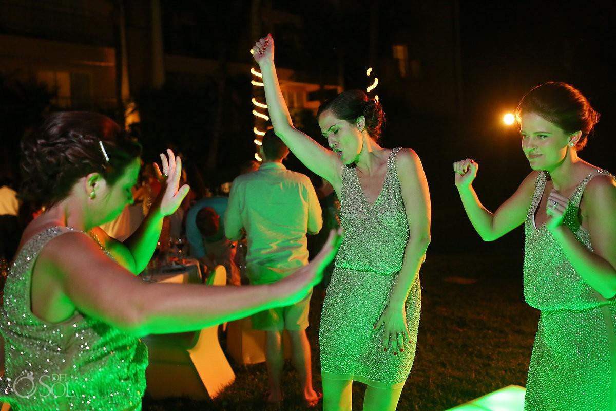 bridesmaids dancing Now Jade, Puerto Morelos, Mexico