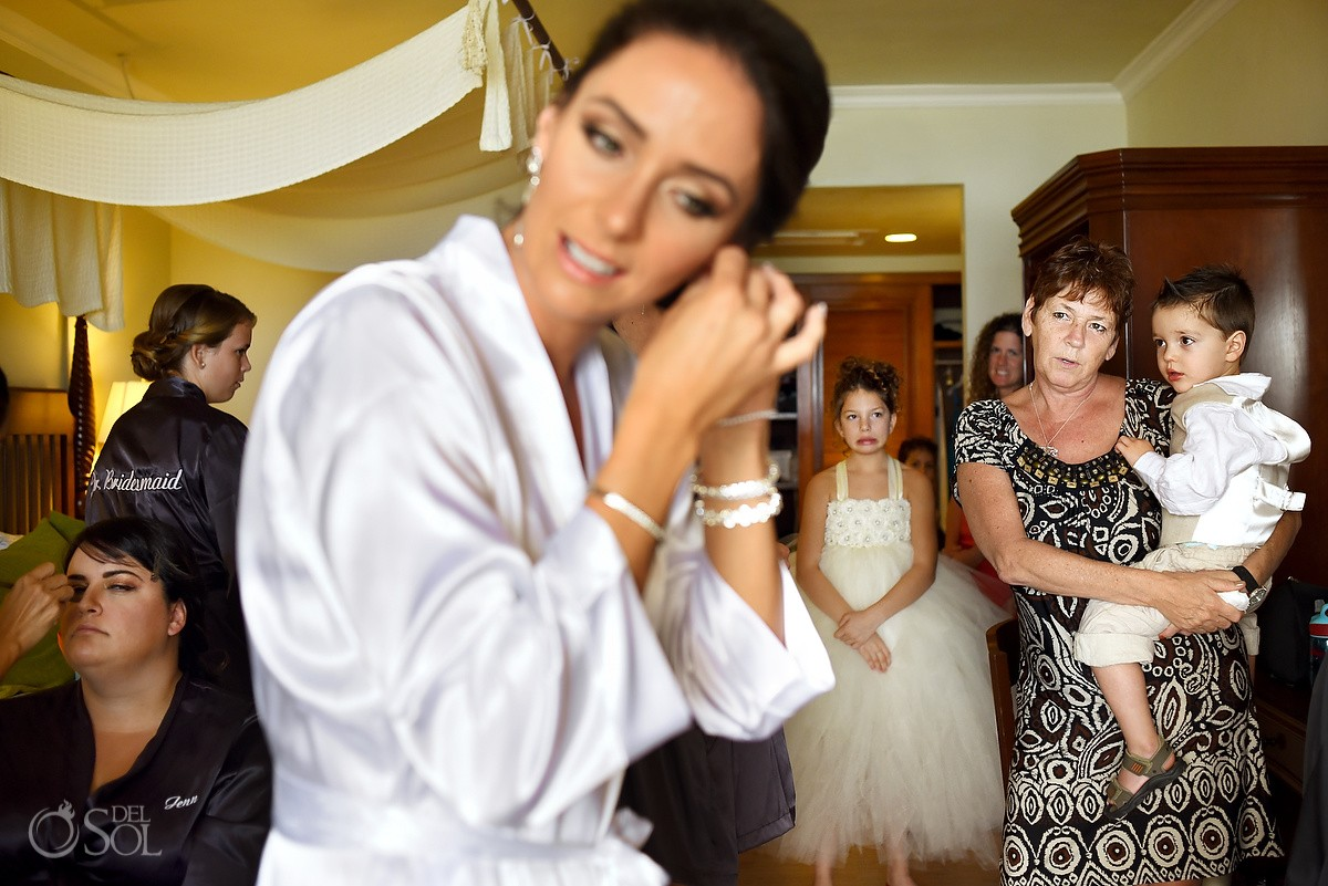 bride getting ready beach wedding Now Sapphire Riviera Cancun, Mexico