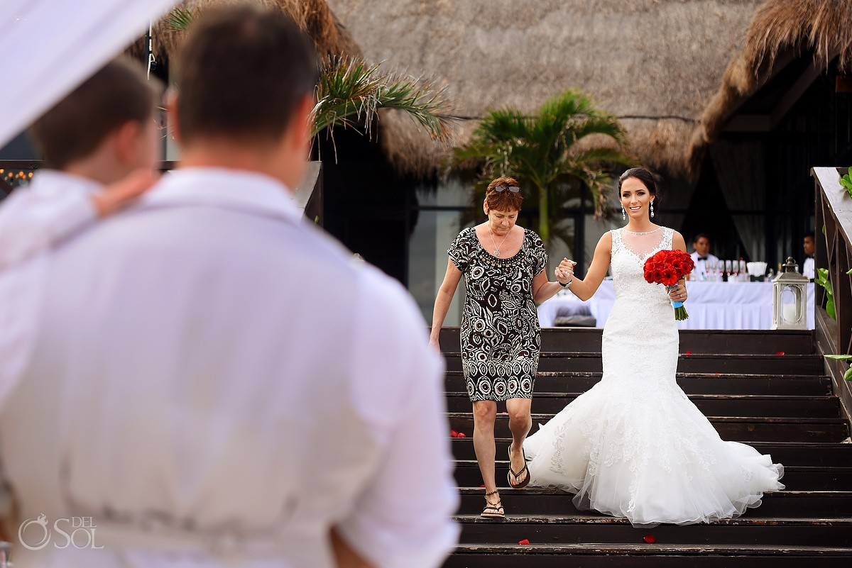 presentation bride mother ceremony entrance beach wedding Now Sapphire Riviera Cancun, Mexico