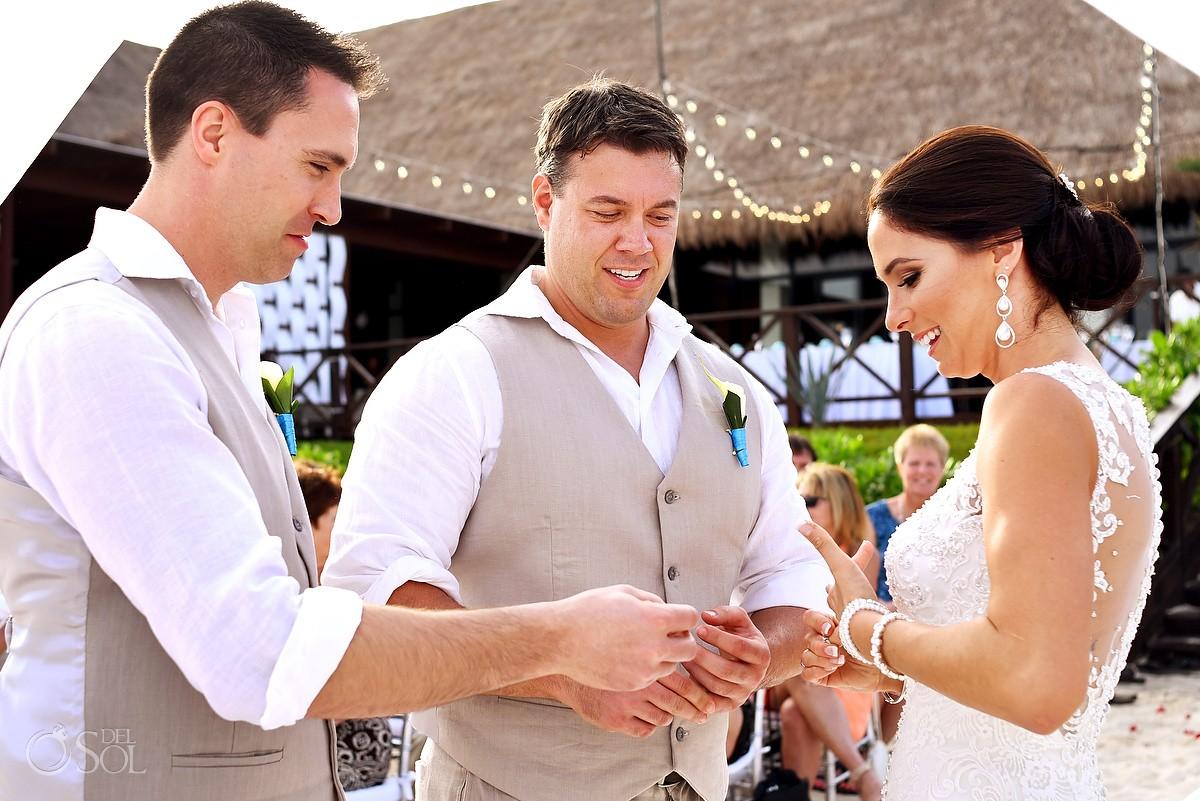 ring exchange, beach wedding Now Sapphire Riviera Cancun, Mexico
