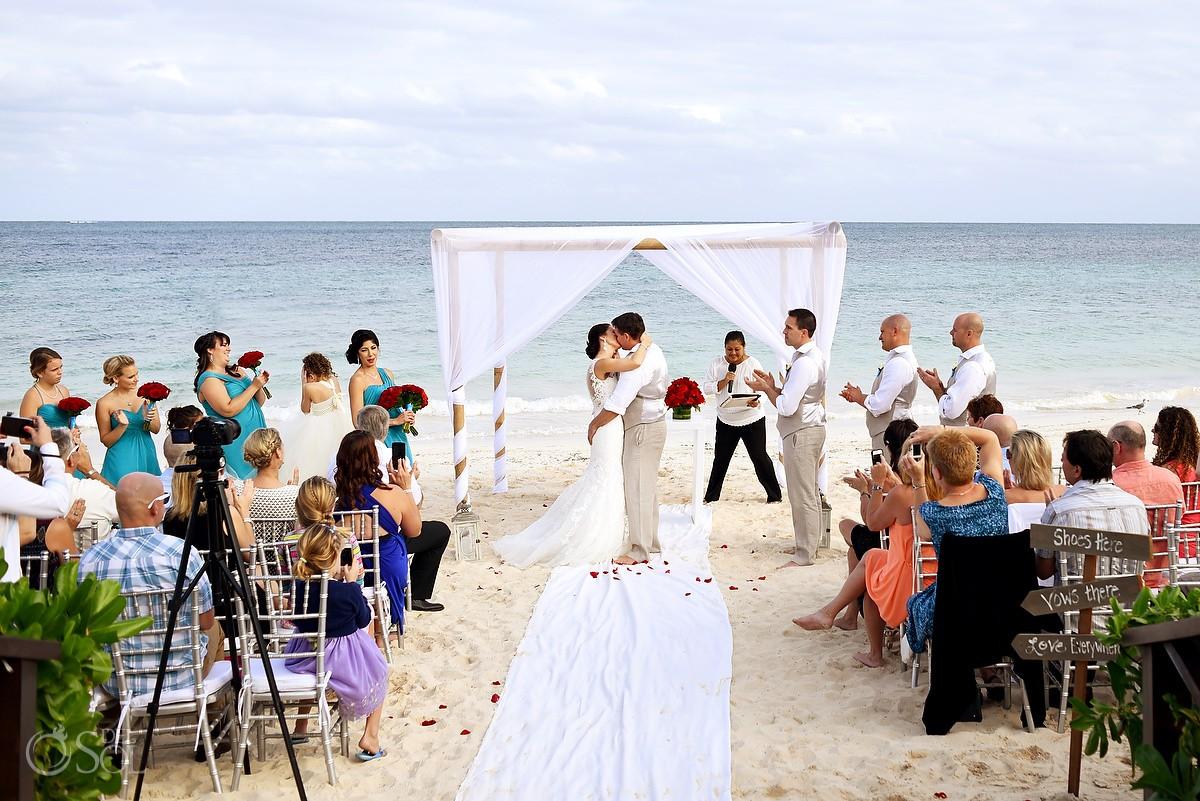 first kiss, beach wedding Now Sapphire Riviera Cancun, Mexico