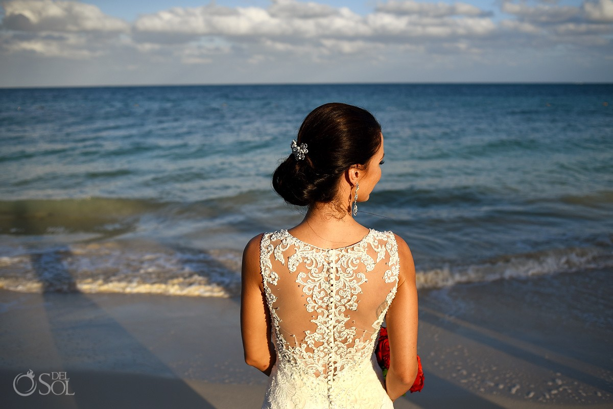 bride wedding portrait Kenneth Winston wedding dress back embroidery lace detail,Beach Now Sapphire Riviera Cancun, Mexico.
