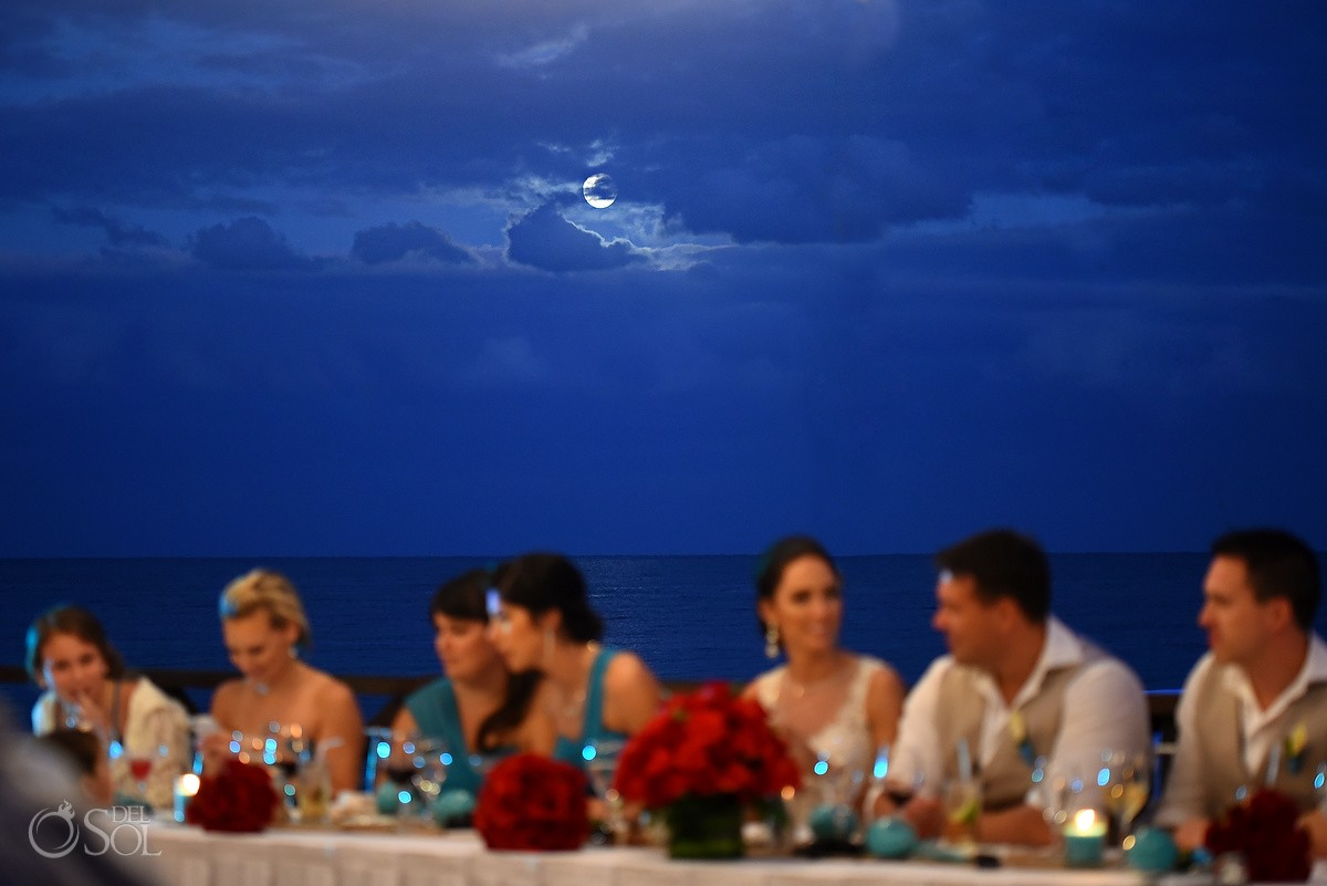 beautiful full moon behind clouds blue sky, Wedding reception Now Sapphire Tequila terrace, Puerto Morellos, Mexico