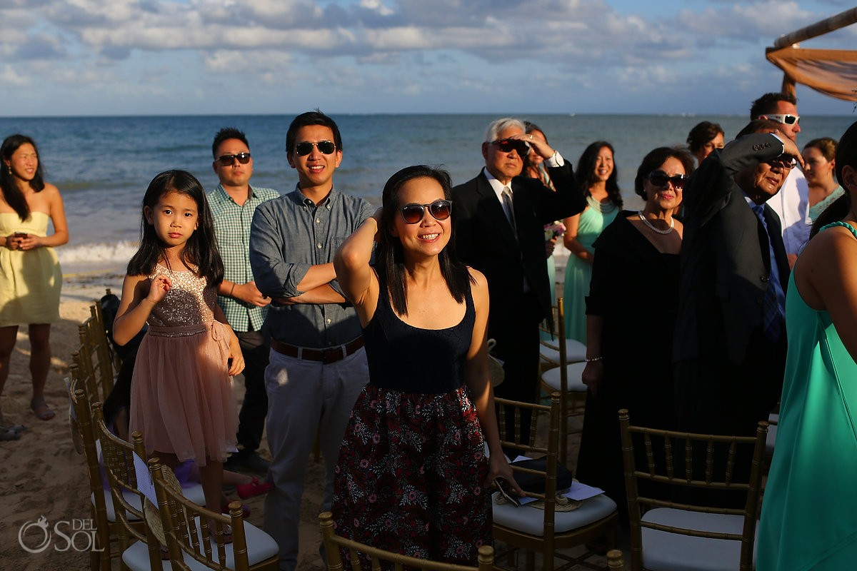 wedding guests onlooking bridal processional at Now Sapphire Riviera Cancun