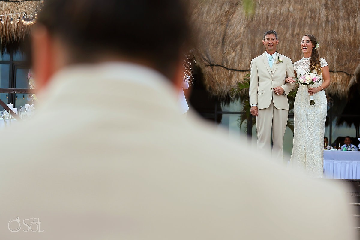father and bride enter wedding processional at Now Sapphire Riviera Cancun hotel
