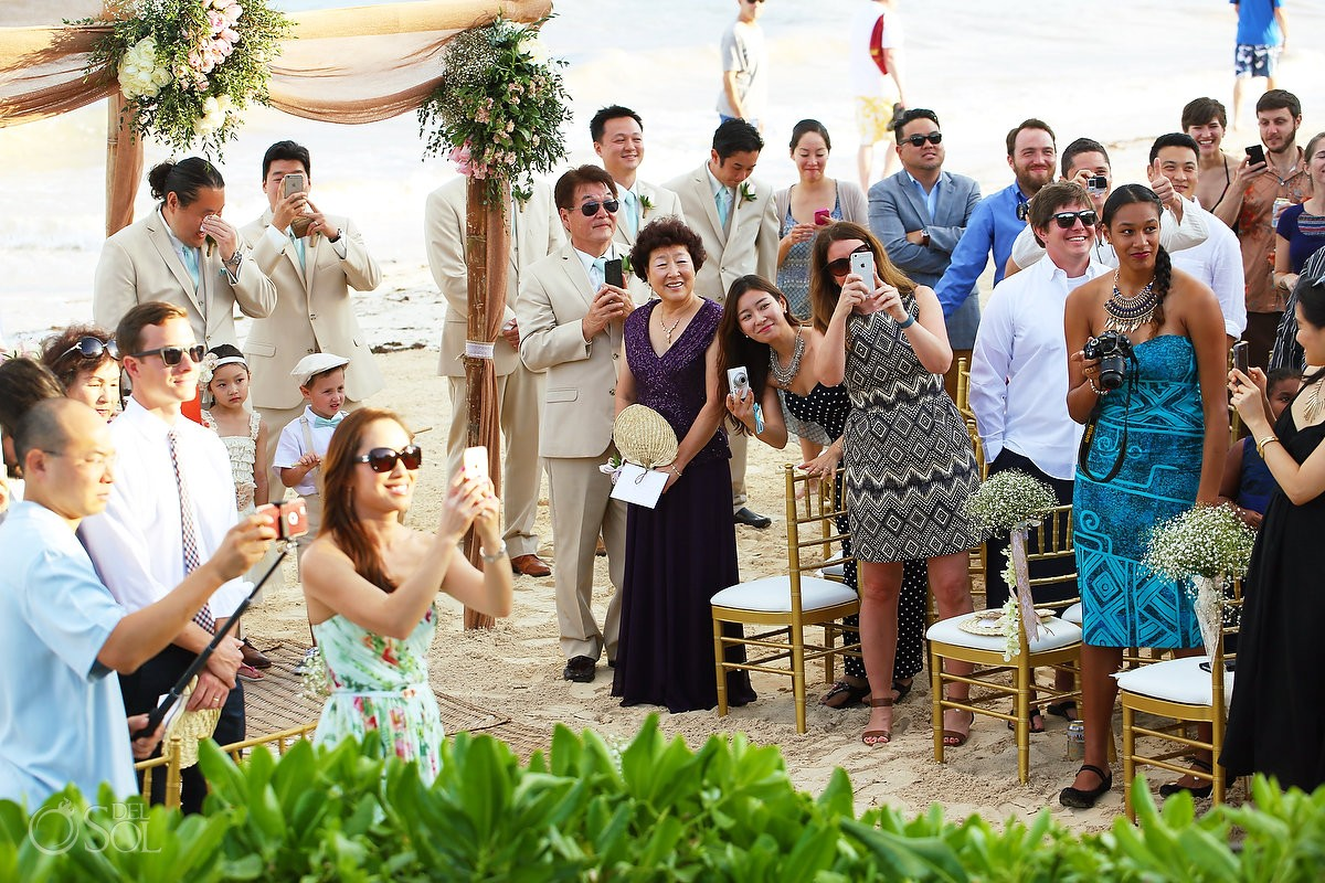 groomsman cries during destination wedding at Now Sapphire Riviera Cancun hotel