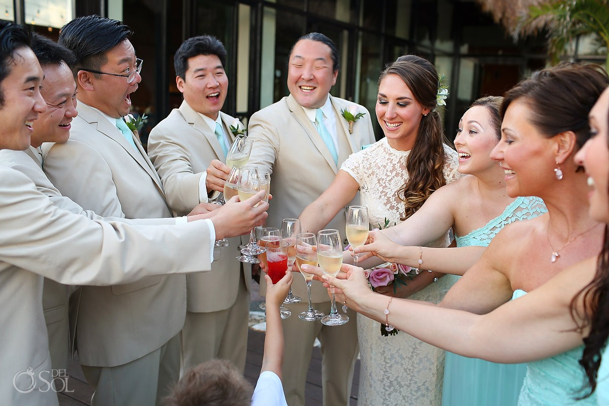 bridal party toast during Wedding at Now Sapphire Riviera Cancun