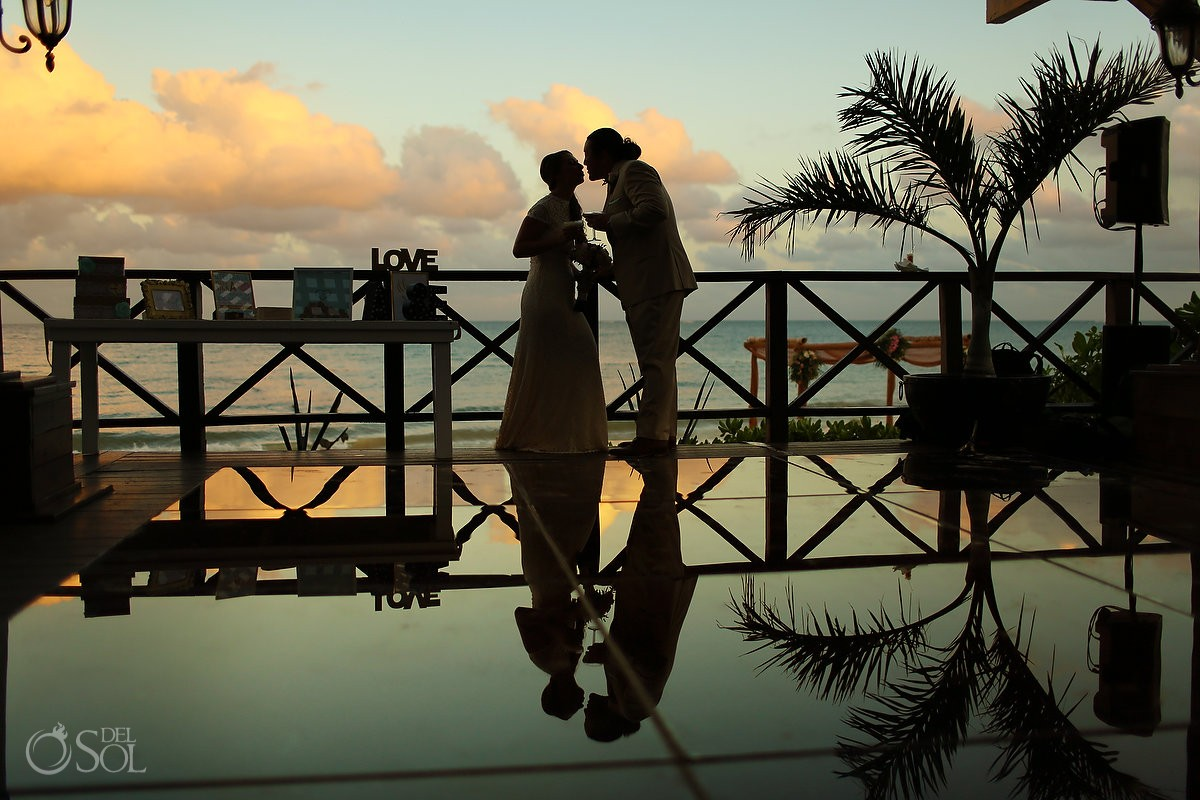 bride and groom Wedding portrait at Now Sapphire Riviera Cancun