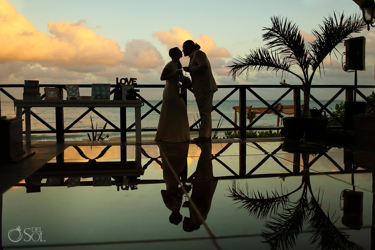 Artistic wedding portrait, sunset silhouette bride groom Now Sapphire Riviera Cancun