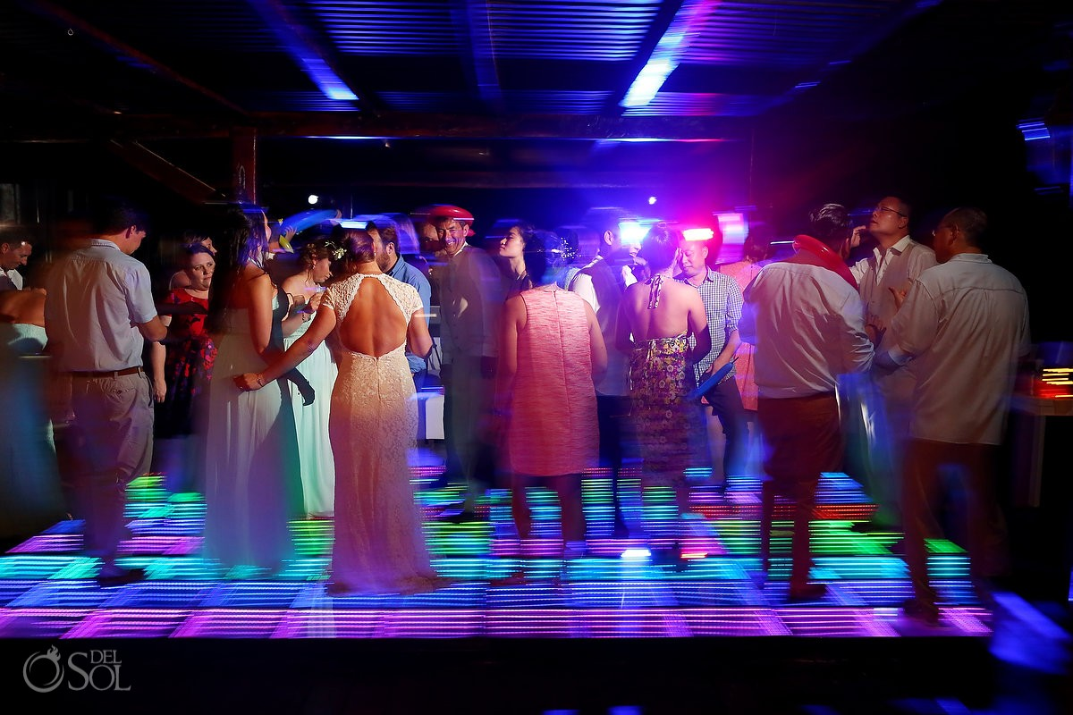 wedding reception dance floor at Now Sapphire Riviera Cancun