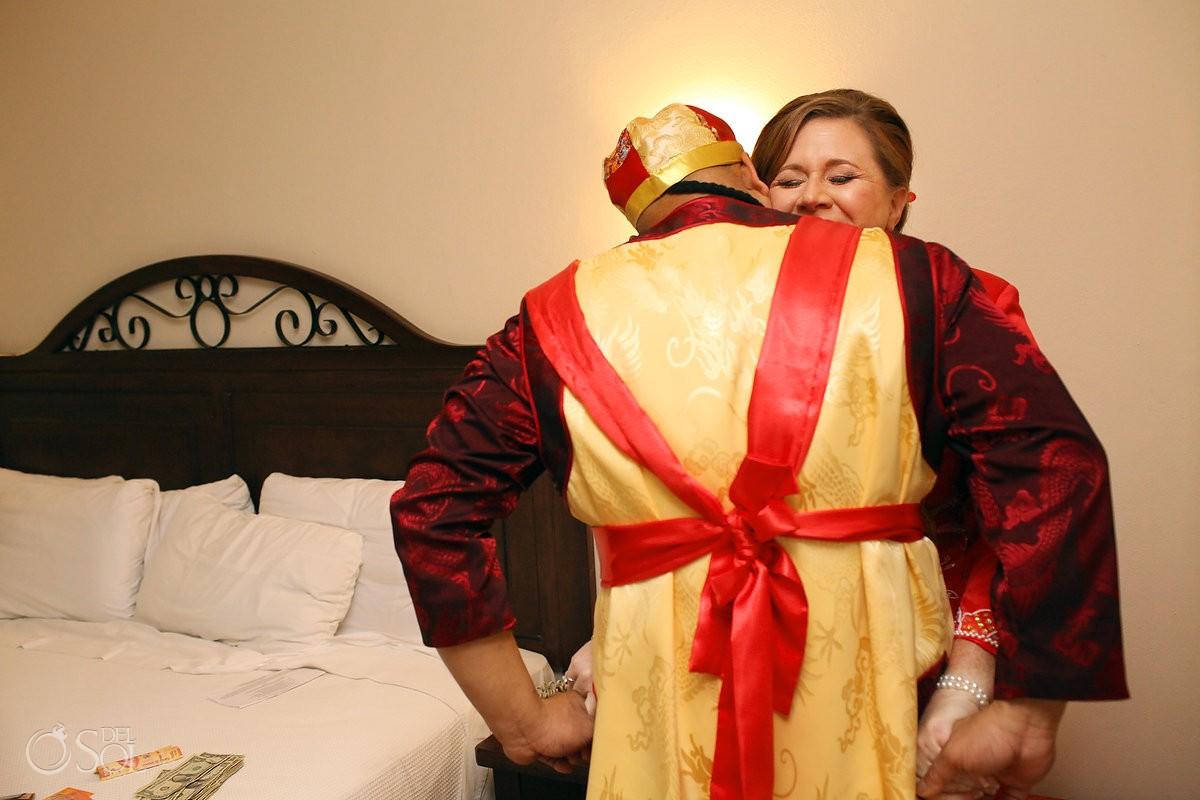 bride groom hug, Chinese wedding tradition, getting ready, Occidental Grand Xcaret, Playa del Carmen, Mexico