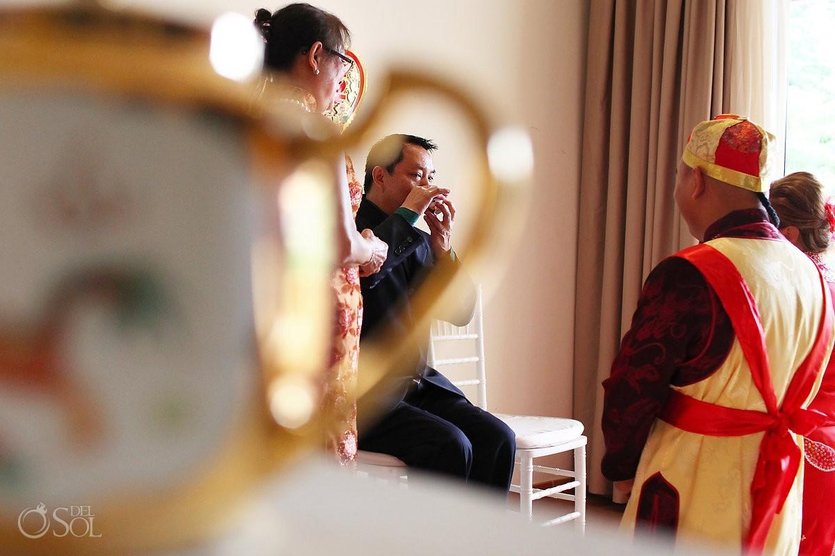 Chinese tea ceremony creative framin drinking tea, Wedding Occidental Grand Xcaret, Playa del Carmen, Mexico