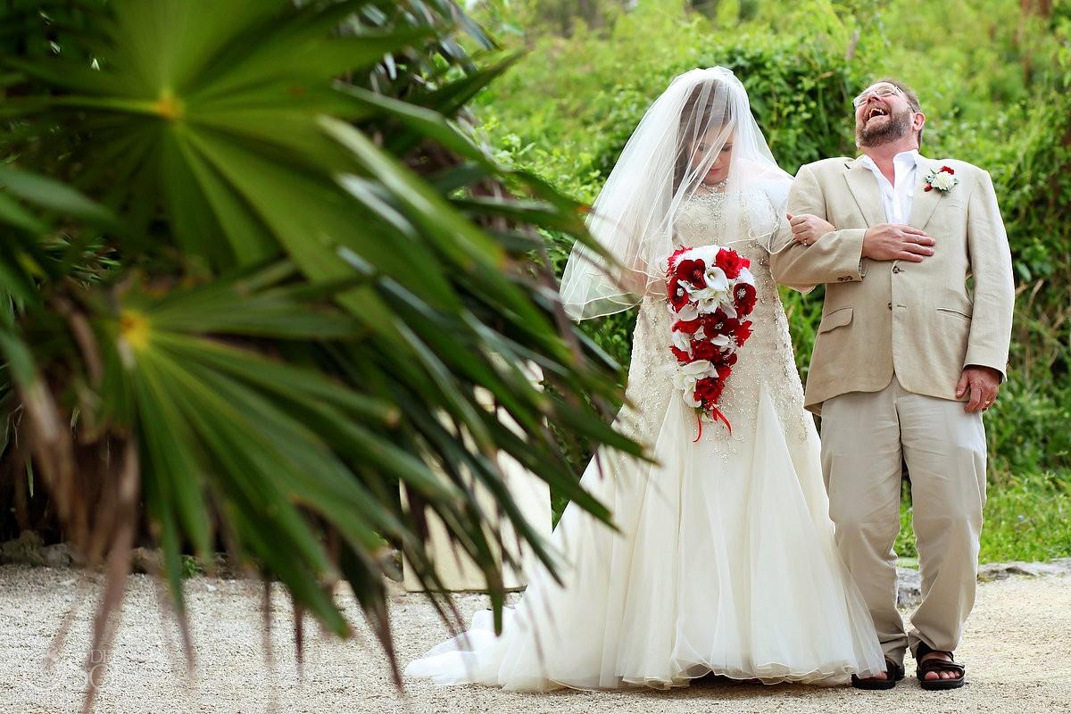father bride laughing beach wedding ceremony entrance, Wedding Occidental Grand Xcaret, Playa del Carmen, Mexico