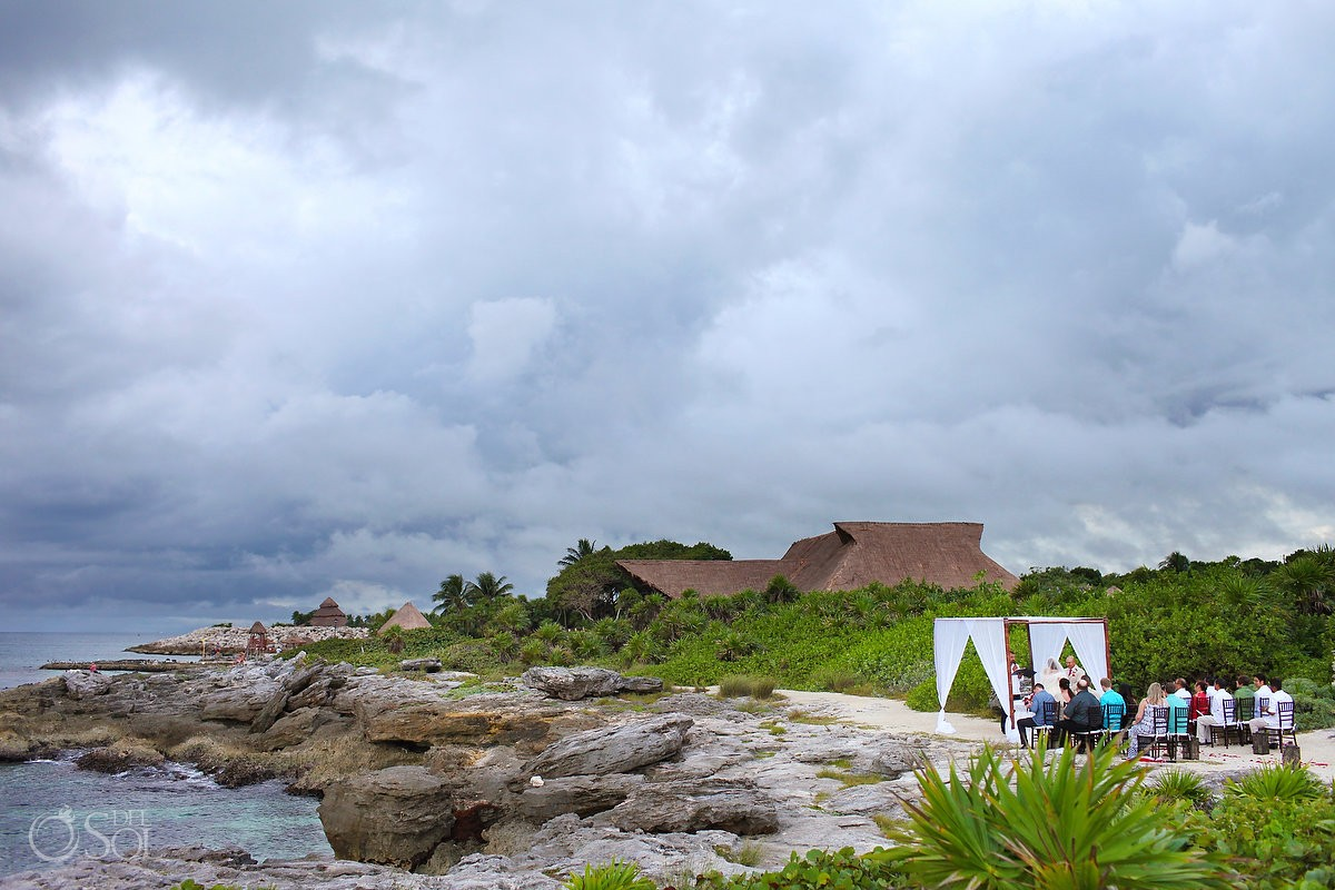 dramatic rain skies beach Wedding Occidental Grand Xcaret, Playa del Carmen, Mexico