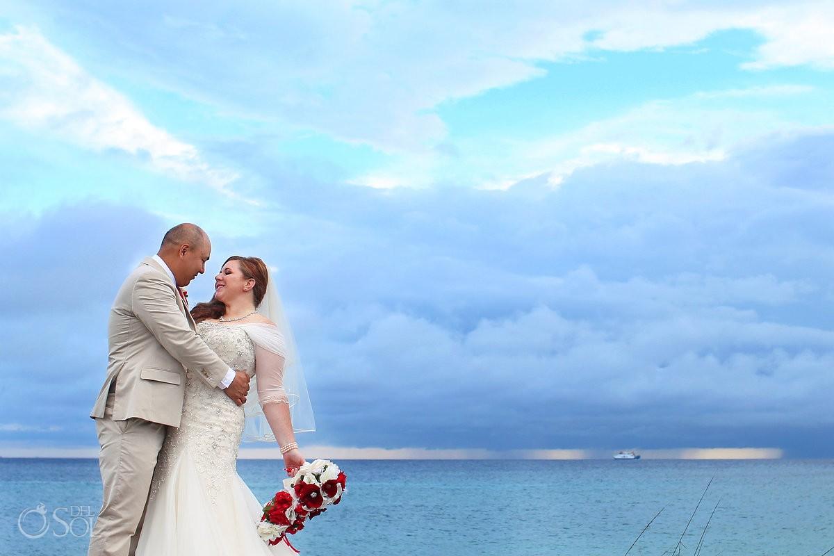 beach wedding portrait, Wedding Occidental Grand Xcaret, Playa del Carmen, Mexico