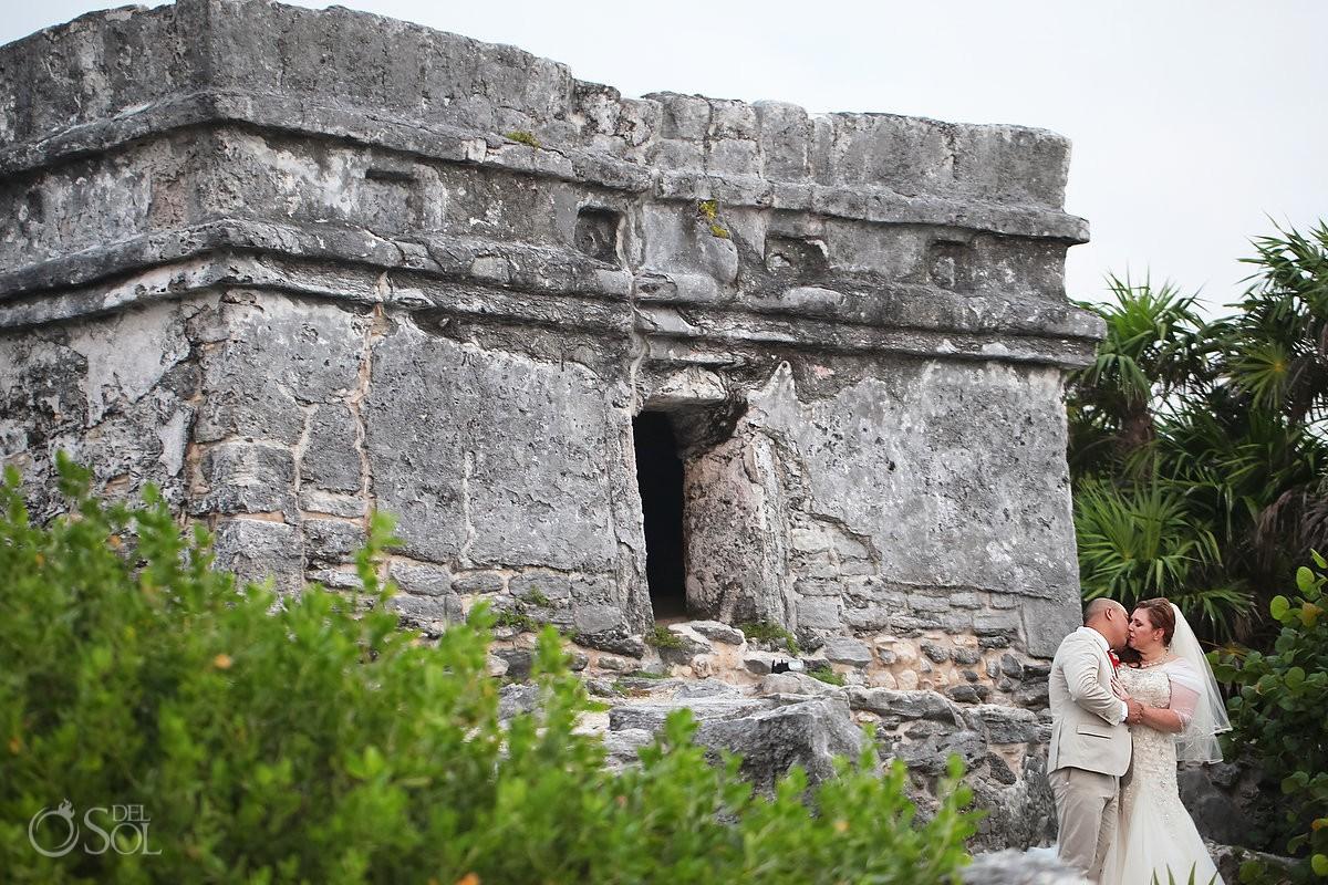 wedding portrait Mayan ruin, Wedding Occidental Grand Xcaret, Playa del Carmen, Mexico
