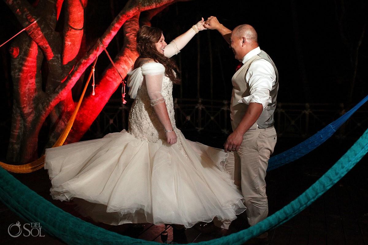 Bride groom dancing night time portrait hammocks Occidental Grand Xcaret, Playa del Carmen, Mexico