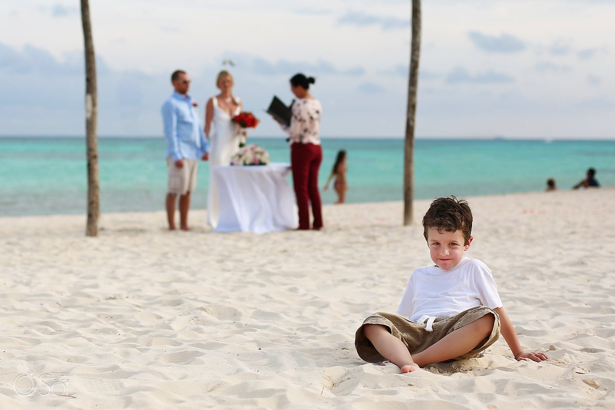 child in front beach Elopement Paradisus, Playa del Carmen, Mexico
