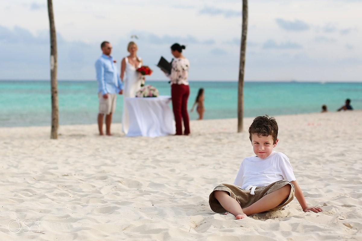 child in front beach Elopement Paradisus, Playa del Carmen, Mexico
