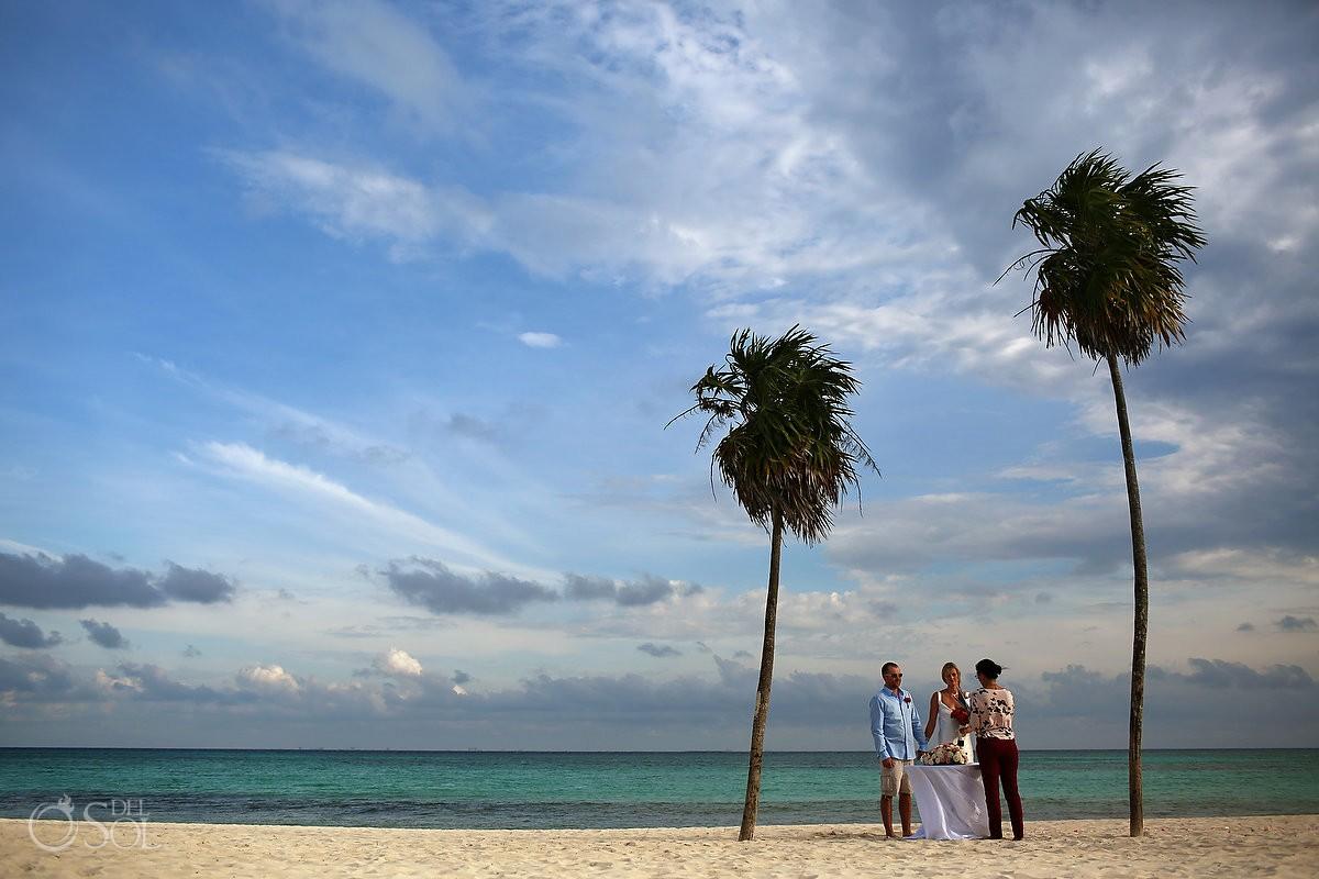 simple caribbean beach elopement palm trees paradise, Paradisus, Playa del Carmen, Mexico