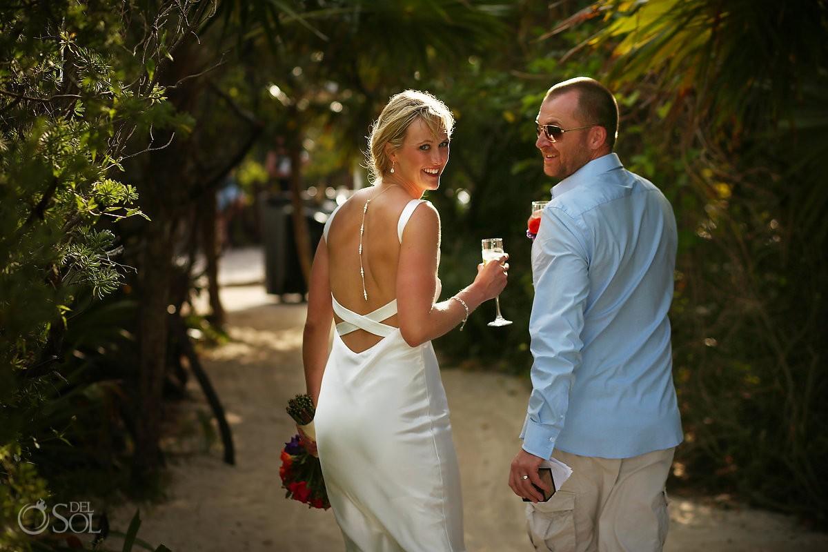 Bride groom candid portrait beach Elopement Paradisus, Playa del Carmen, Mexico
