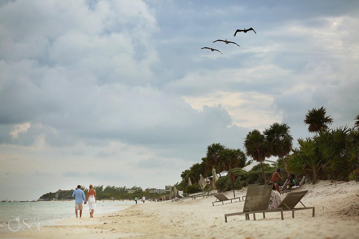 bride groom walking beach three pelicans flying, Wedding portrais Paradisus, Playa del Carmen, Mexico