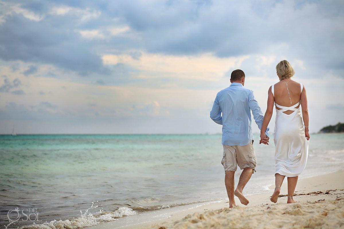 bride groom walking beach wedding portrait, Elopement Paradisus, Playa del Carmen, Mexico