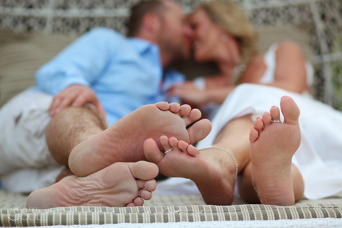sandy feet wedding portrait, Elopement Paradisus, Playa del Carmen, Mexico