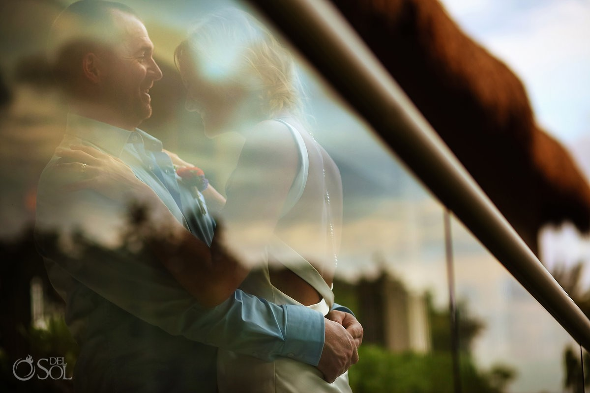 creative reflection wedding portrait, Elopement Paradisus, Playa del Carmen, Mexico