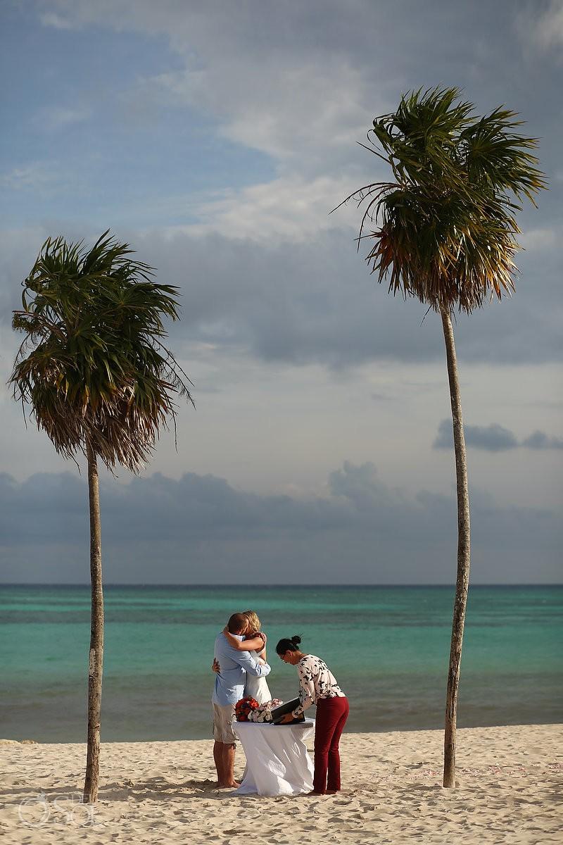 first kiss simple carribbean beach Elopement Paradisus, Playa del Carmen, Mexico